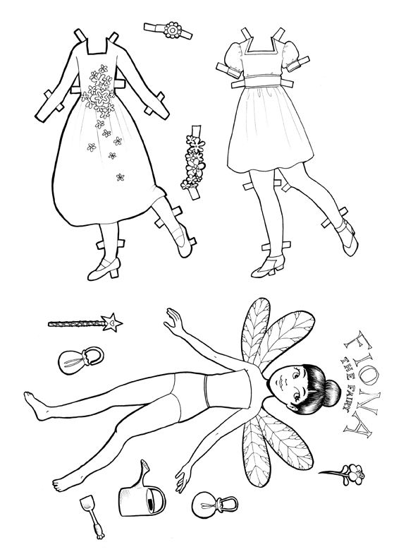 printable paper doll fiona the fairy colouring page the stuff store. Black Bedroom Furniture Sets. Home Design Ideas