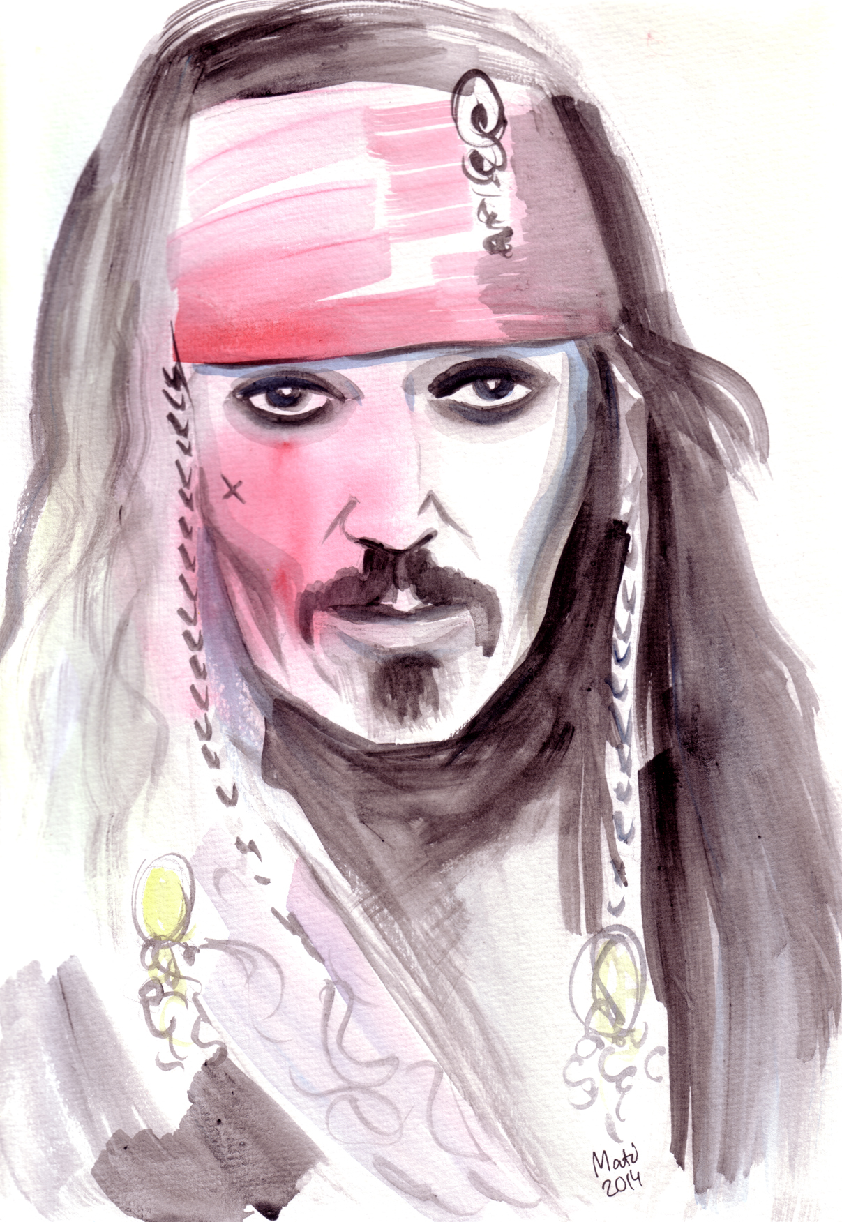jack sparrow watercolour