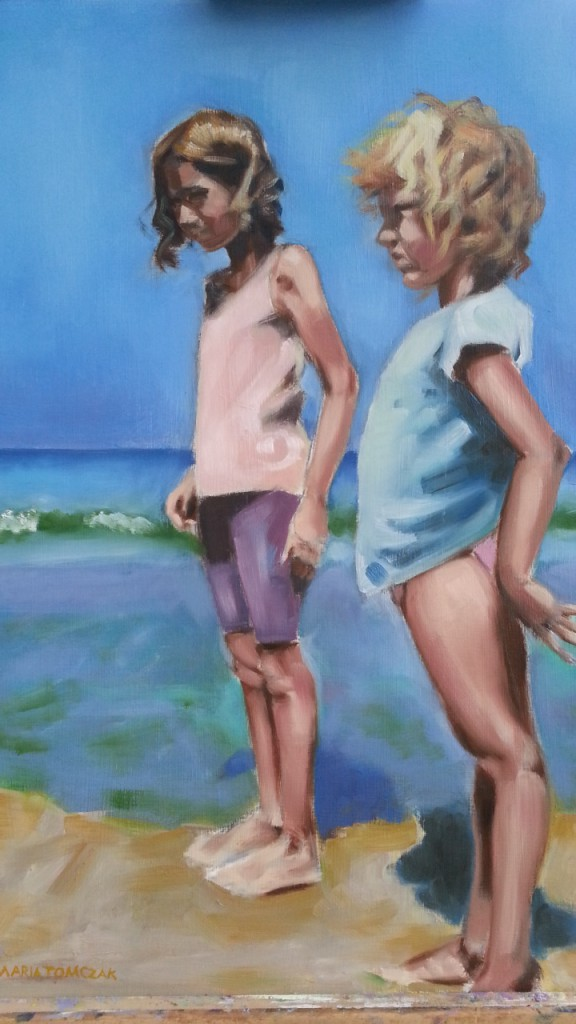 oil painting girls on beach