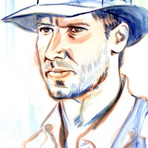 "400 SEK, € 40,  $,45  Original watercolour painting of Indiana Jones.  Painted on watercolour paper.  Size 29,5 cm x 21.0 cm - 11,4"" x 8 1/4""   Painted in 2014."