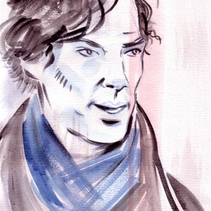 400 SEK, € 40,  $,45   Original watercolour painting of Benedict Cumberbatch as Sherlock Holmes.  Painted on acid free watercolour paper. (21 cm x 29,5 cm ) Painted in 2014.